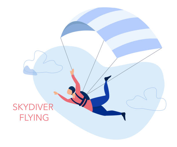 ilustrações de stock, clip art, desenhos animados e ícones de skydiving and leisure activity concept. skydiver flying with a parachute. - parapente