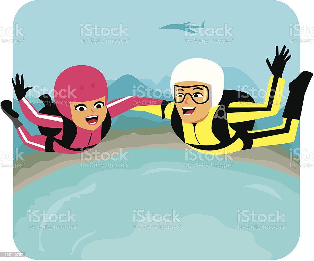 Skydiving couple Cartoon vector art illustration