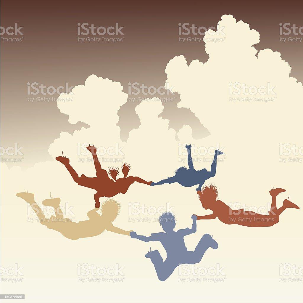 Skydiving friends vector art illustration