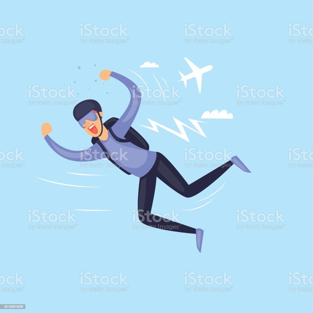 Skydiving man. Parachuting sport. Isolated. Extreme sport. Flat design vector illustrations. vector art illustration