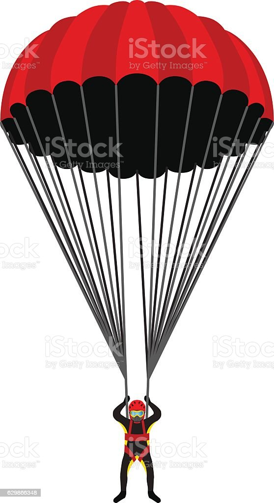 Skydiving school, academy illustration. Parachutist, extreme sport vector art illustration
