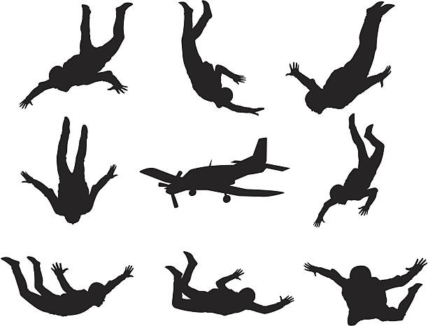 Skydiving Silhouettes vector art illustration