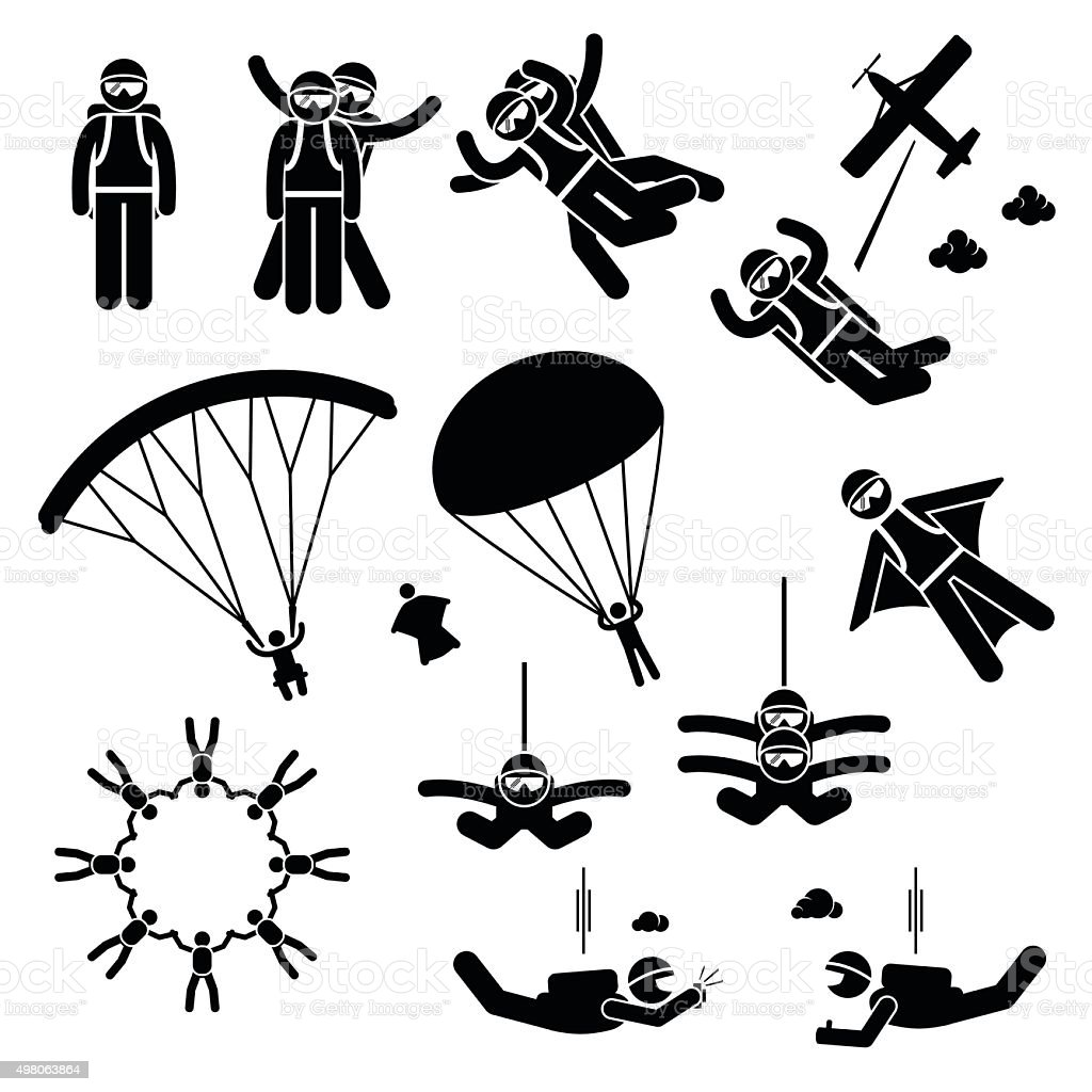 Skydiving Skydives Skydiver Parachute Wingsuit Freefall Freefly Pictogram vector art illustration