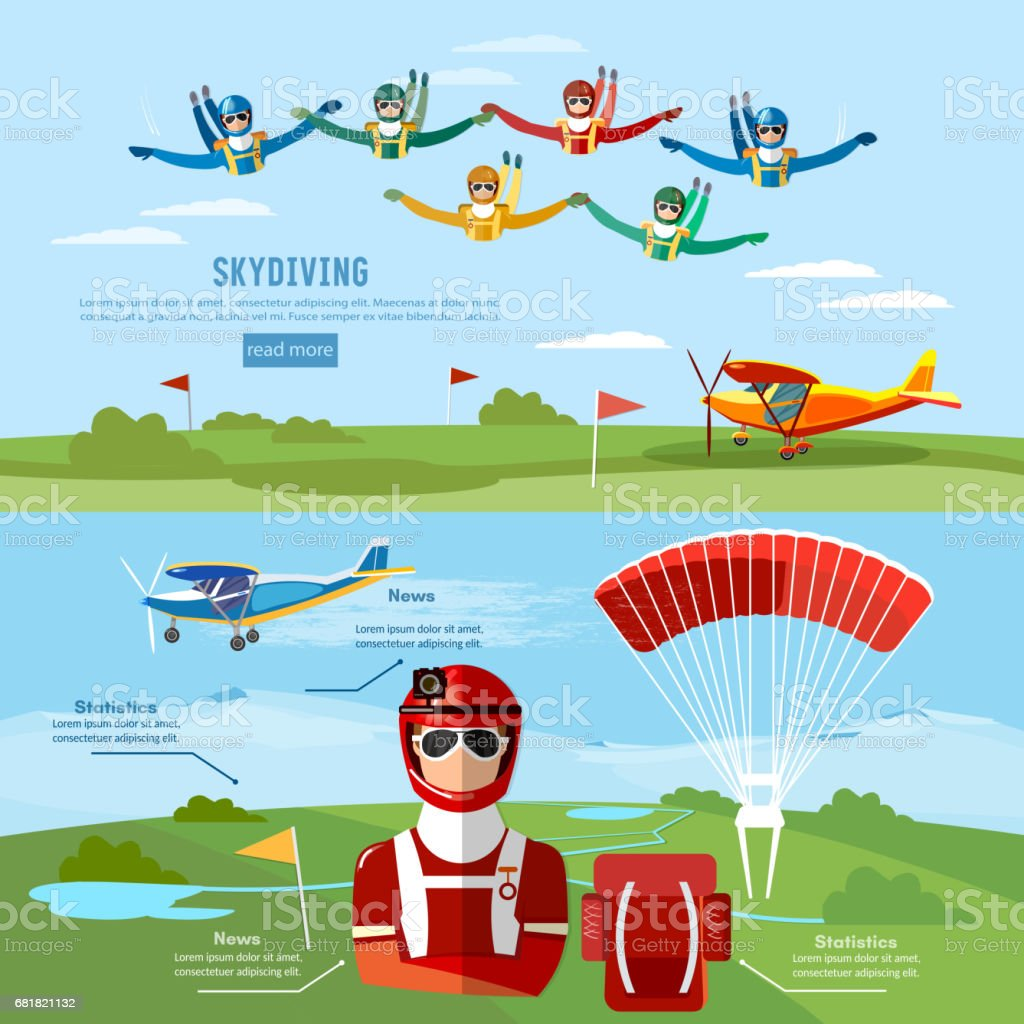 Skydiving teamwork banner extreme sport. Skydiver jumps from an airplane vector vector art illustration