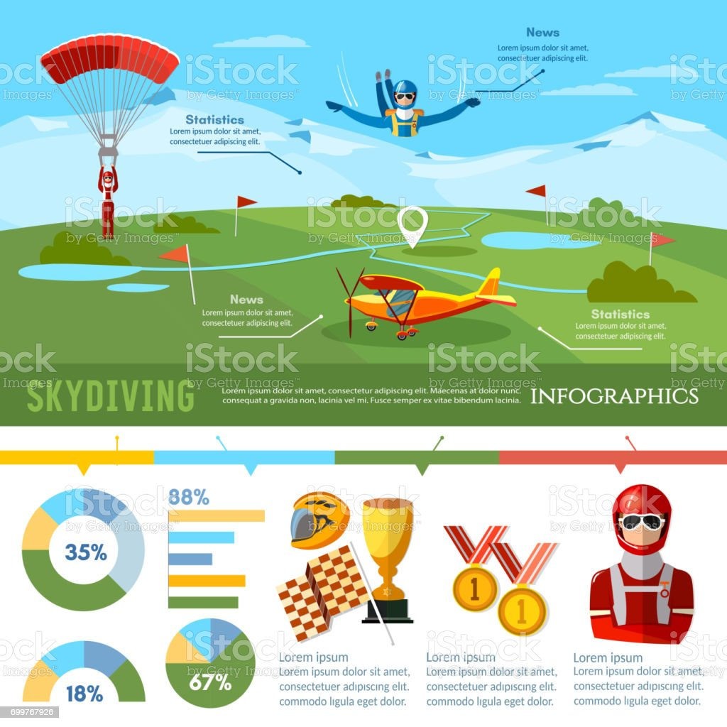 Skydiving teamwork infographic championship on jumps from parachute extreme sport. Skydiver jumps from an airplane vector vector art illustration
