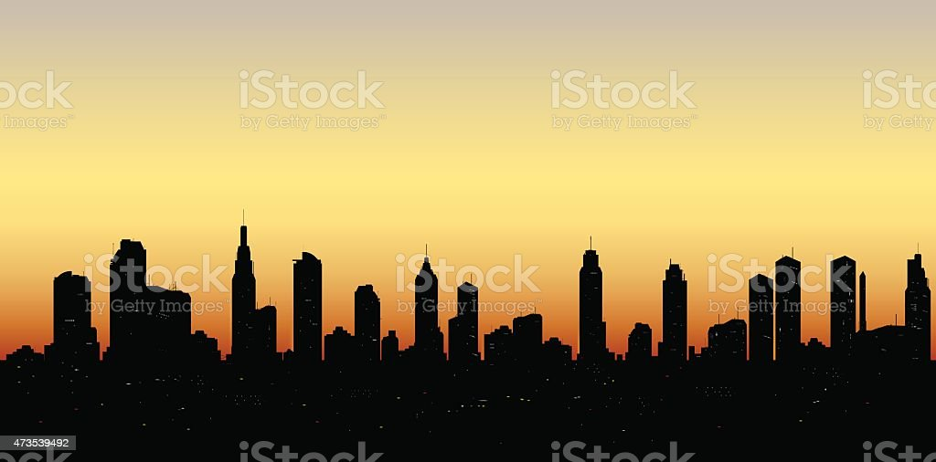 skyline aerial view at sunset with  skyscrapers vector art illustration