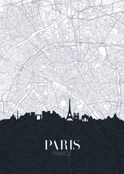 Skyline and city map of Paris, detailed urban plan vector print poster Skyline and city map of Paris, detailed urban plan vector print poster seine river stock illustrations