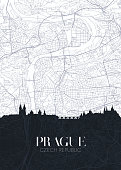 Skyline and city map of Prague, detailed urban plan vector print poster