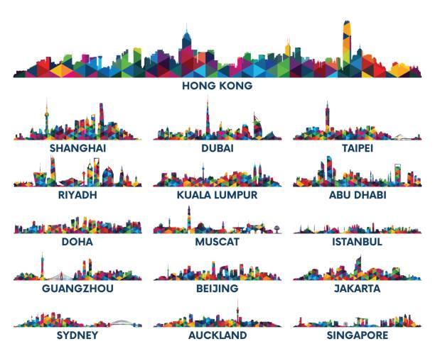 manzarası şehir arap yarımadası'nda ve asya - abu dhabi stock illustrations