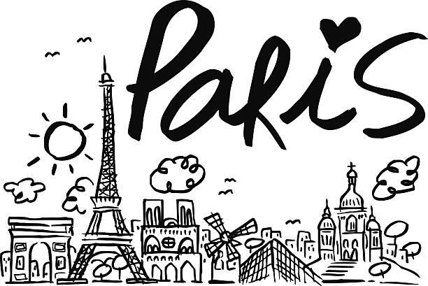 Vista de los edificios de la ciudad de París, de día y con sol - ilustración de arte vectorial
