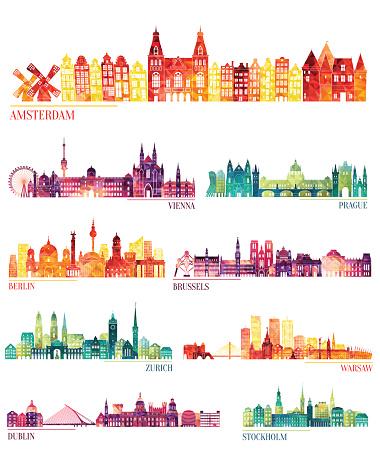 Skyline detailed silhouette set (Amsterdam, Vienna, Prague, Berlin, Brussels, Zurich)