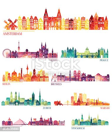 Skyline detailed silhouette set (Amsterdam, Vienna, Prague, Berlin, Brussels, Zurich, Warsaw, Dublin, Stockholm ). Vector illustration