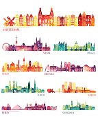 Skyline detailed silhouette set (Amsterdam, Vienna, Prague, Berlin, Brussels, Zurich)