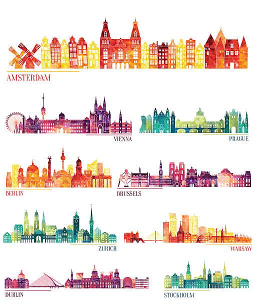 skyline detailed silhouette set (amsterdam, vienna, prague, berlin, brussels, zurich) - niederlande stock-grafiken, -clipart, -cartoons und -symbole