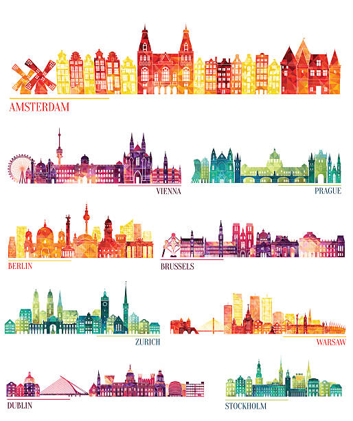 skyline detailed silhouette set (amsterdam, vienna, prague, berlin, brussels, zurich) - europe travel stock illustrations, clip art, cartoons, & icons