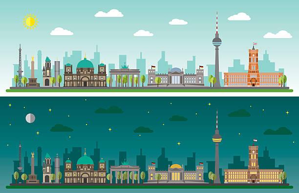 bildbanksillustrationer, clip art samt tecknat material och ikoner med skyline of berlin by day and night - berlin city