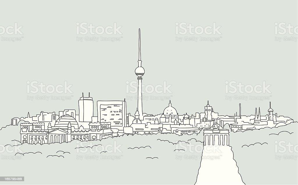 Skyline of Berlin - sketch vector art illustration