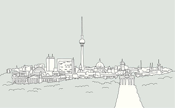 bildbanksillustrationer, clip art samt tecknat material och ikoner med skyline of berlin - sketch - berlin city