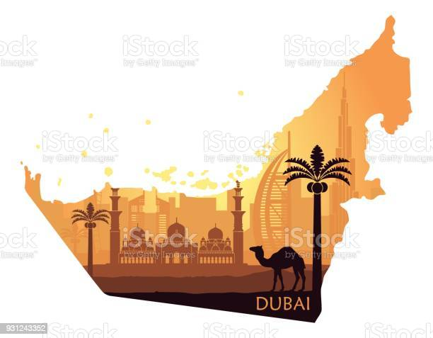 Skyline of dubai with camel in the form of a map of the united arab vector id931243352?b=1&k=6&m=931243352&s=612x612&h=mlgajbxlcw05stgby1zs e7vtkprqai4oviobsrb2s4=