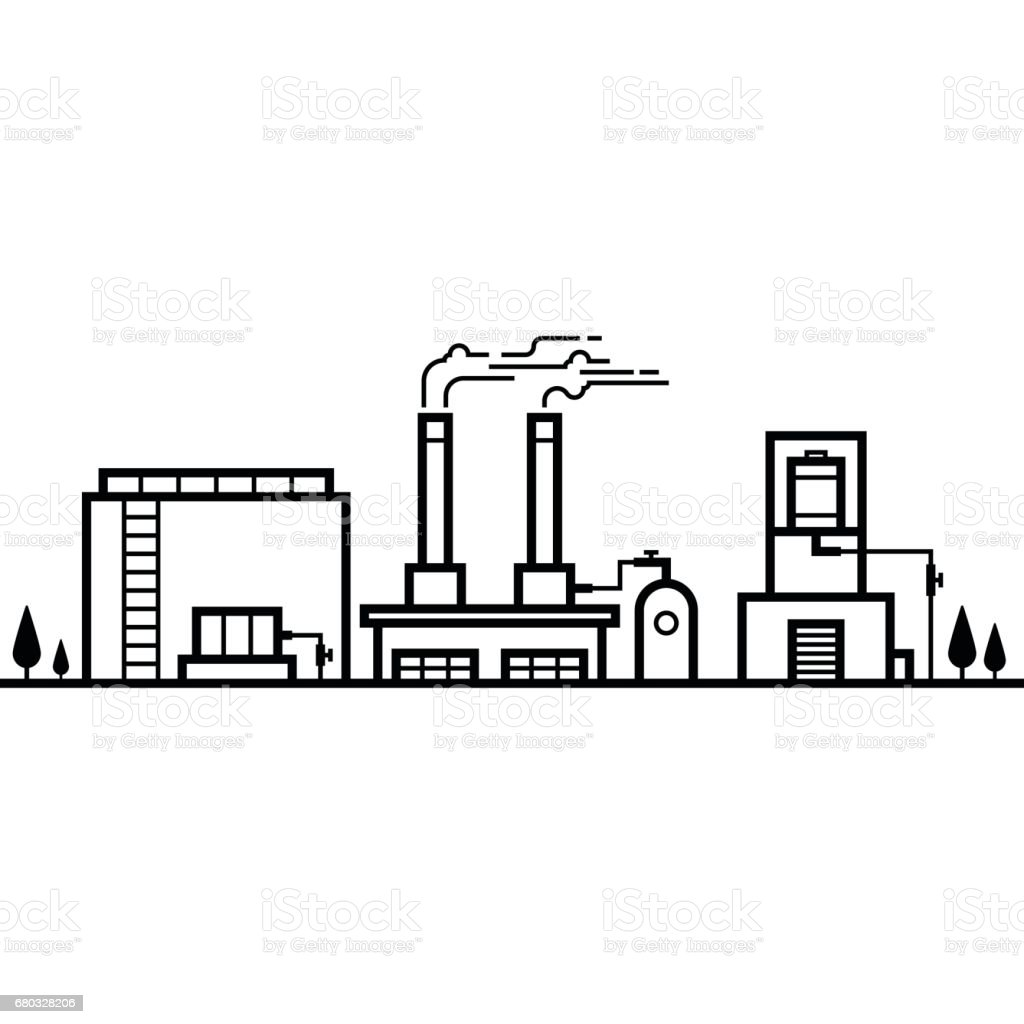Skyline of factory industry black and white line royalty-free skyline of factory industry black and white line stock vector art & more images of architecture