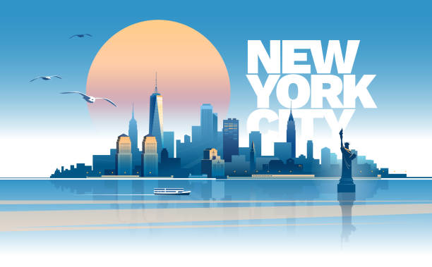 Skyline of New York city Skyline of New York City at sunset time. Main parts are on the separate layers new york state stock illustrations
