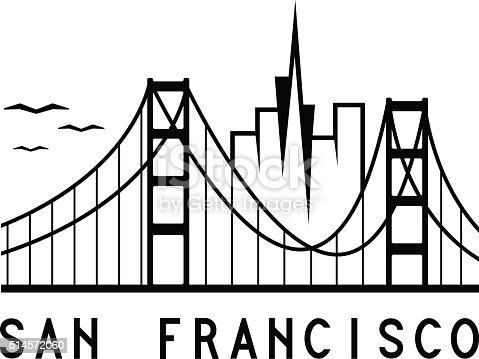 Skyline Of San Francisco Vector Design Template Stock