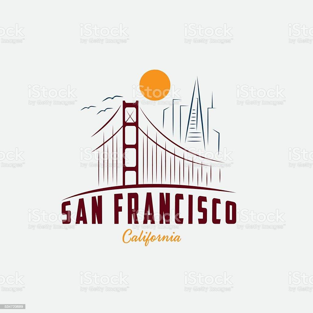 skyline of San Francisco vector design template vector art illustration