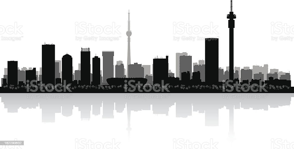 Skyline silhouette of Johannesburg, South Africa royalty-free skyline silhouette of johannesburg south africa stock vector art & more images of architecture
