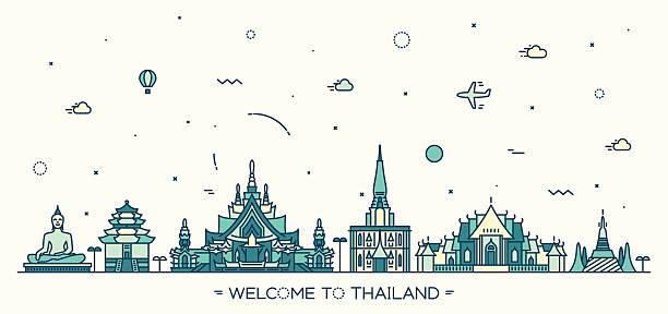 skyline linearen stil vektor-illustration von thailand - pattaya stock-grafiken, -clipart, -cartoons und -symbole