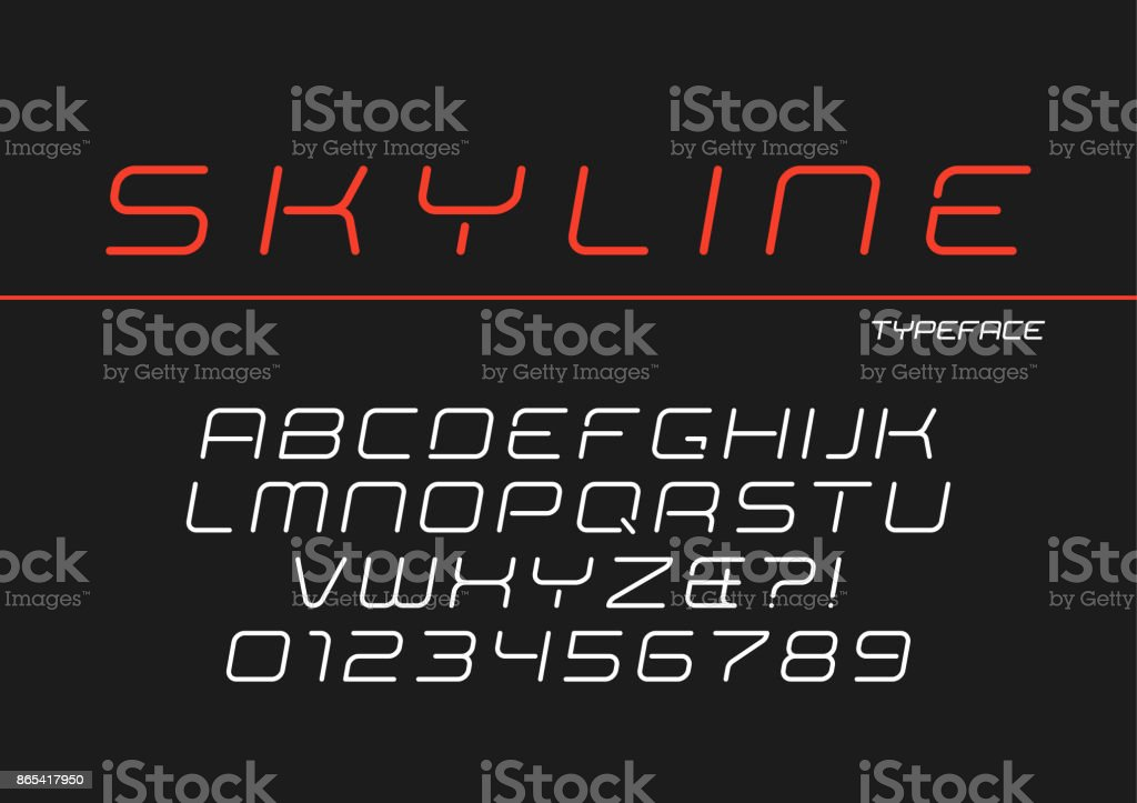 Skyline vector decorative italic font design, alphabet, typeface