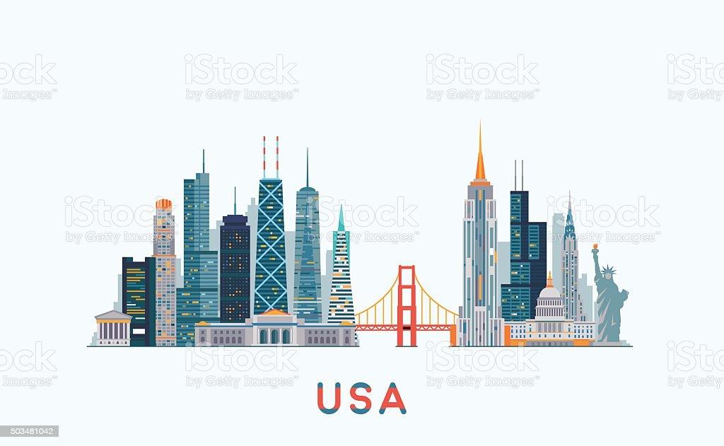 USA skyline. Vector illustration vector art illustration
