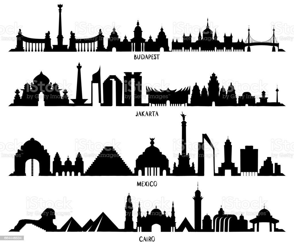 Skyline mit historischer Architektur, Mexiko, Budapest, Jakarta und Kairo – Vektorgrafik