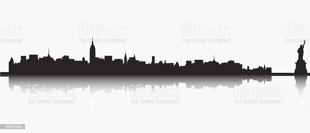 NY Skyline with Statue of Liberty vector art illustration