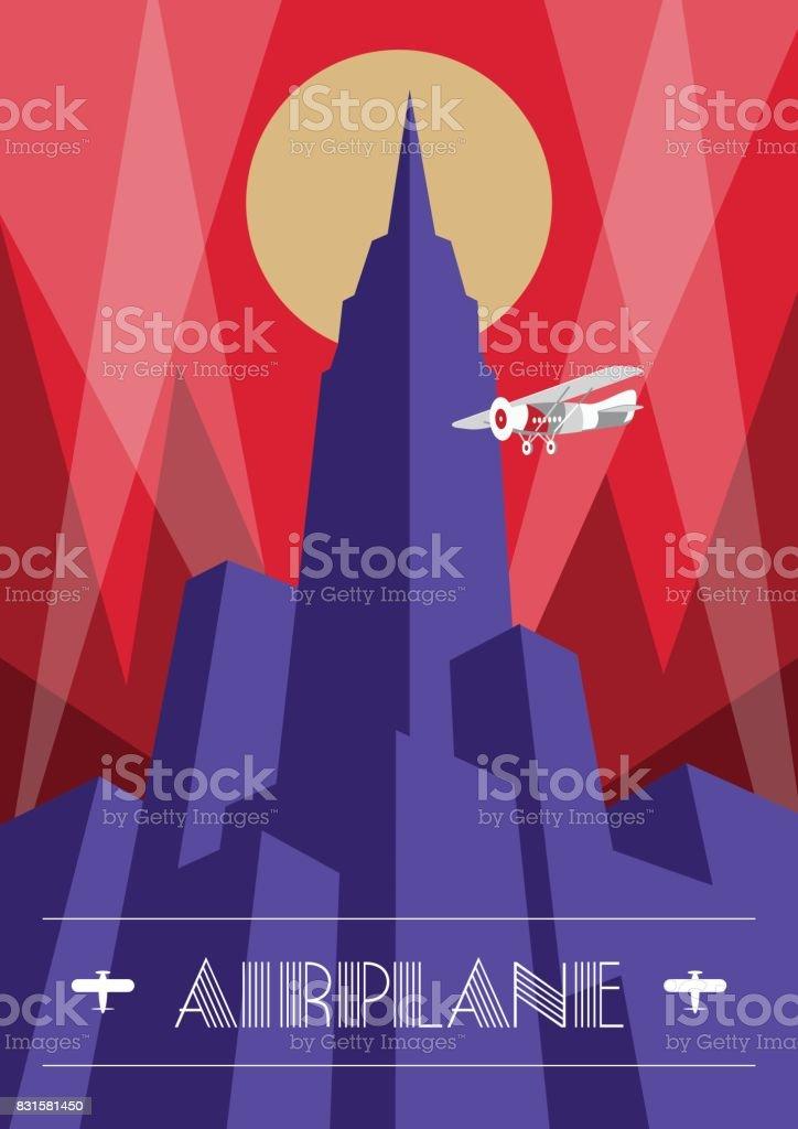 Poster de arranha-céus e avião em estilo art deco. Ilustração de viagens vintage - ilustração de arte em vetor