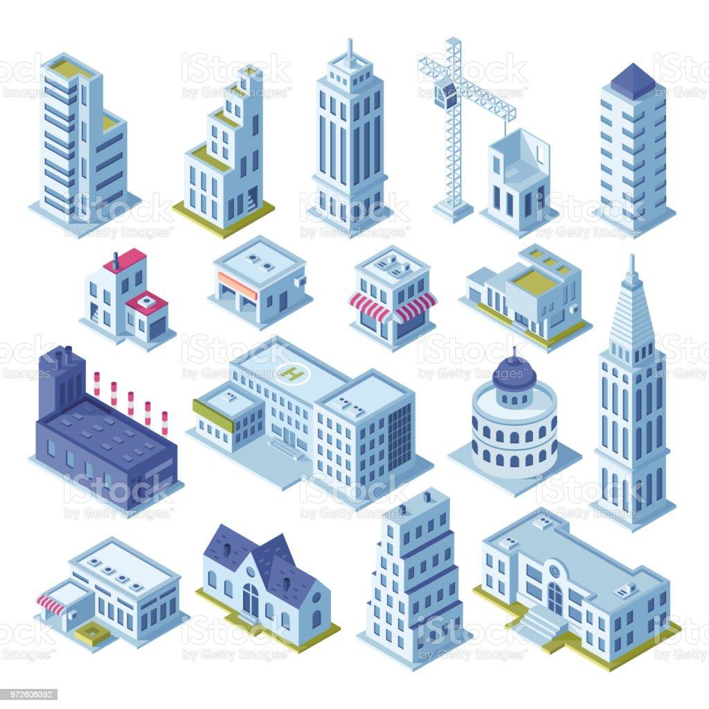 Bâtiment de gratte-ciel et de bureau d'affaires au centre-ville. Bâtiments de ville architecture 3d isométrique vecteur de ville carte pour définir - Illustration vectorielle
