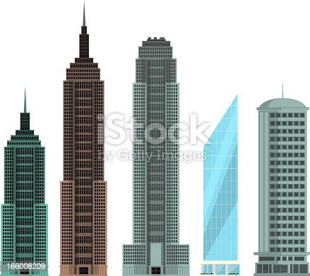 Four different buildings set collection vector illustration.