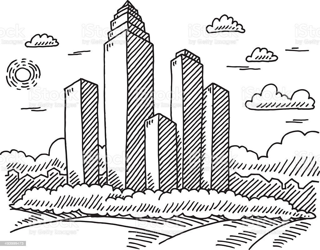 Skyscraper Cityscape Drawing vector art illustration