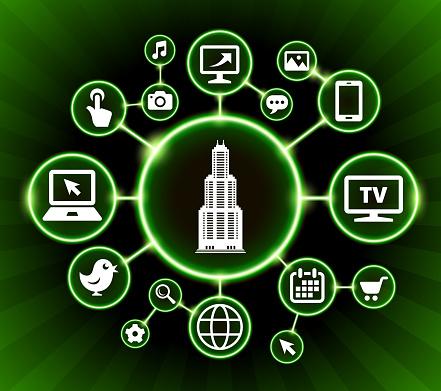 Wolkenkrabber Internet Communicatie Technologie Donkere Knoppen Achtergrond Stockvectorkunst en meer beelden van Achtergrond - Thema