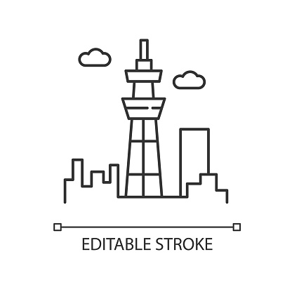 Skyscraper pixel perfect linear icon. Urban cityscape. Tokyo observation tower. Business district. Thin line customizable illustration. Contour symbol. Vector isolated outline drawing. Editable stroke