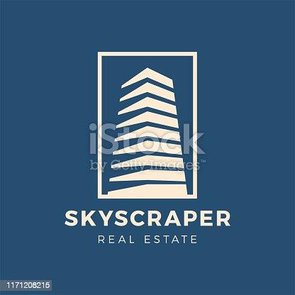 Skyscraper real estate and construction services vector logo concept.
