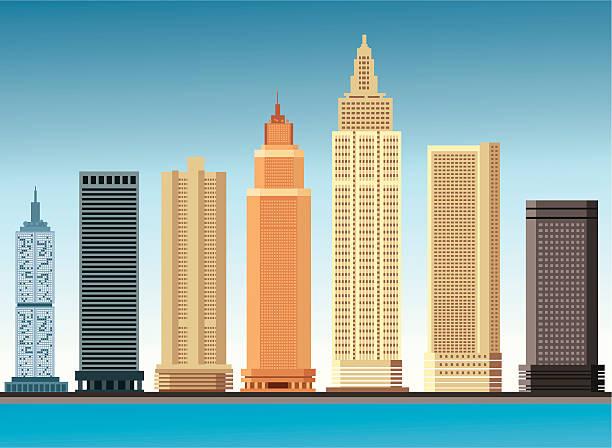 stockillustraties, clipart, cartoons en iconen met skyscraper - wolkenkrabber