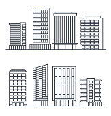 Skyscrapers and business buildings, City design elements.
