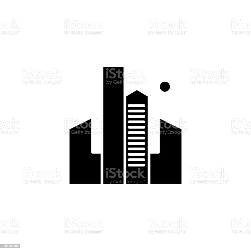 Skyscrapers black icon concept. Skyscrapers flat  vector symbol, sign, illustration. royalty-free skyscrapers black icon concept skyscrapers flat vector symbol sign illustration stock vector art & more images of abstract