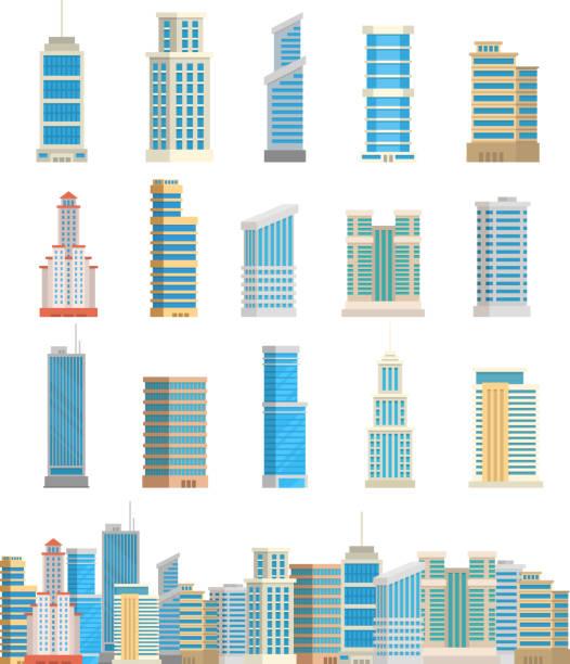 stockillustraties, clipart, cartoons en iconen met wolkenkrabbers gebouwen geïsoleerde toren office stad het platform huis business appartement vectorillustratie - wolkenkrabber
