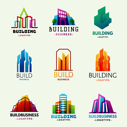 Skyscrapers buildings label tower office city architecture badge house business apartment vector illustration