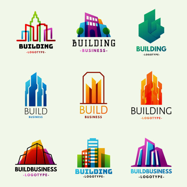 skyscrapers buildings label tower office city architecture badge house business apartment vector illustration - urban fashion stock illustrations, clip art, cartoons, & icons