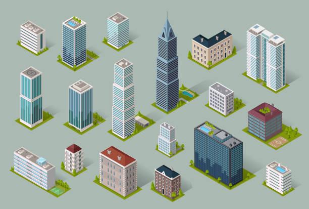 illustrations, cliparts, dessins animés et icônes de icône de la construction de logements de gratte-ciels - tour structure bâtie