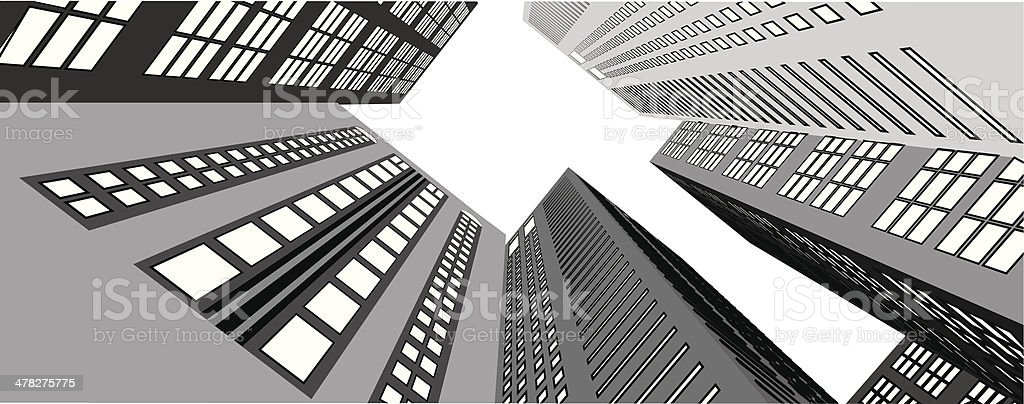 Skyscrapers in the city view from below vector art illustration
