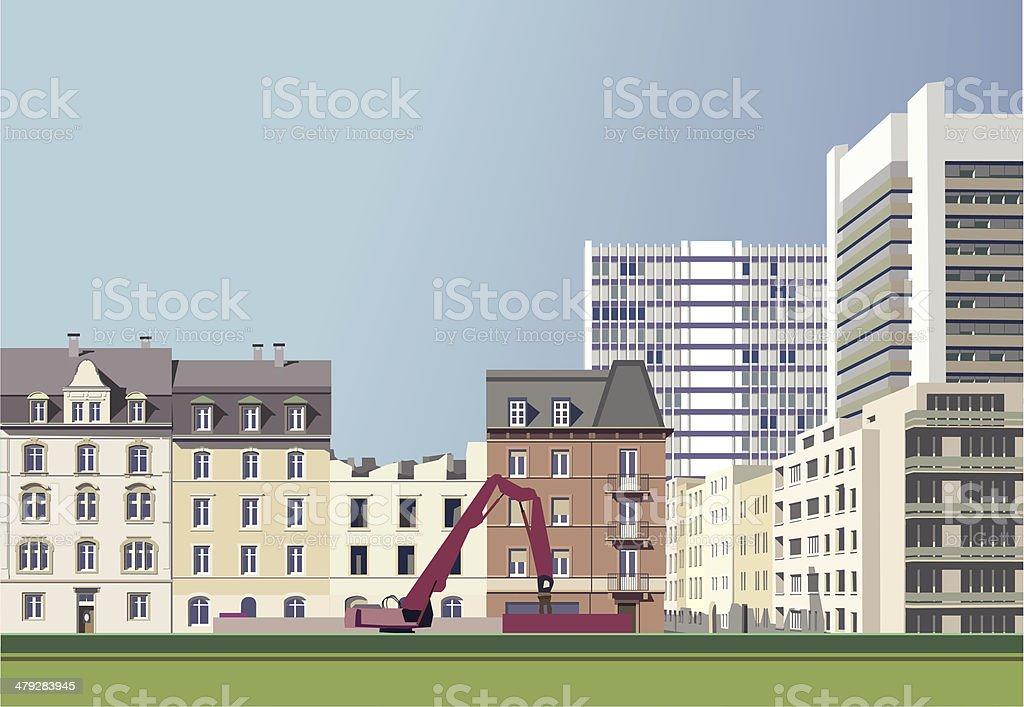 Skyscrapers move closer vector art illustration