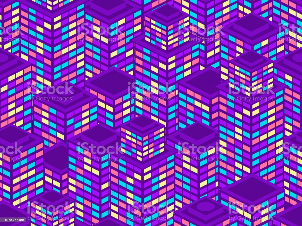 Skyscrapers seamless pattern. Isometric city buildings, metropolis. Neon color in the style of the 80s. Vector illustration vector art illustration